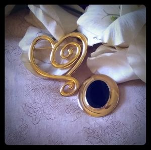 Vintage Oval & Abstract Scroll Heart Brooch Set
